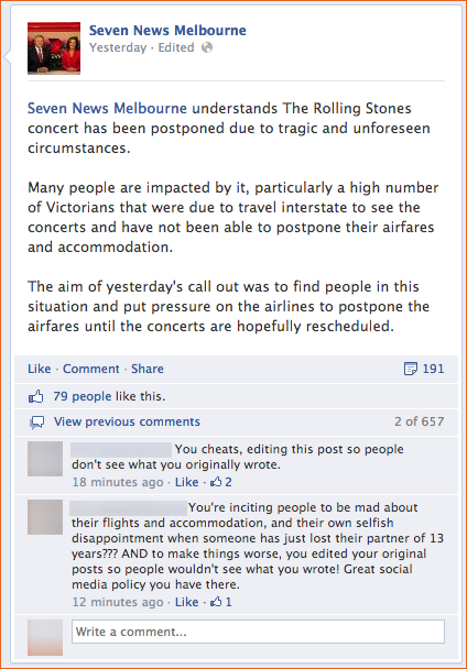 Channel 7's insensitive Rolling Stones Facebook post angers