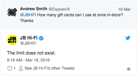 JB Hi-Fi tweeting mean girls reference