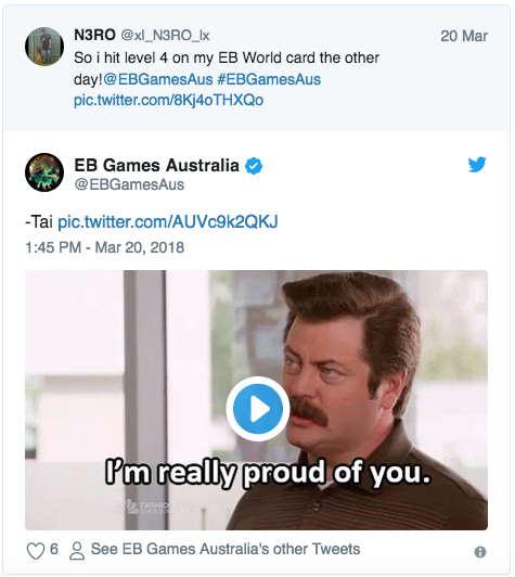 EB Games replying with GIF