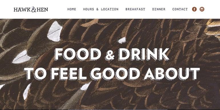 hawk and hen website design typography