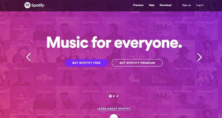 website design spotify